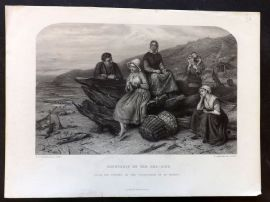 After Lidderdale C1860 Art Journal Print. Courtship by the Sea-Side